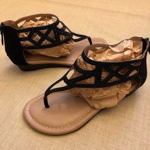 Torrid Black Rhinestone Ankle Strap Sandal *WIDE*